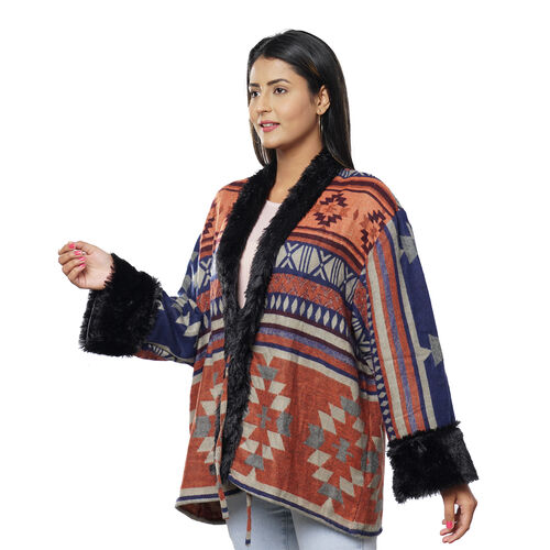Southwestern Pattern Cozy Jacquard Jacket with Faux Fur Trim and Long Sleeve (Size XL/XXL, 18-22) - Coral and Multi