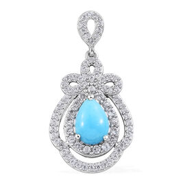 AA Arizona Sleeping Beauty Turquoise (Pear 1.60 Ct), Natural Cambodian Zircon Pendant in Platinum Ov