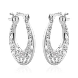 White Diamond Earrings (with Clasp) in Sterling Silver