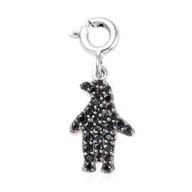 Boi Ploi Black Spinel (Rnd) Penguin Charm in Platinum Overlay Sterling Silver 0.50 Ct.