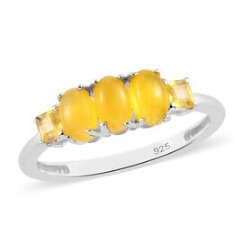 One Time Deal- Canary Opal (Oval Cut) and Yellow Sapphire (Princess Cut) Ring in Sterling Silver 1.0