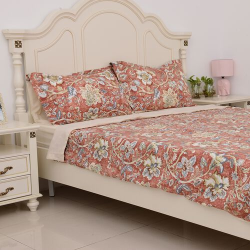 4 Pcs Cream Colour Fitted Sheet (Size 150x200 Cm), Duvet Cover (Size 225x220 Cm) and Pillow Case (Size 50x75 Cm) Red and Multi Colour