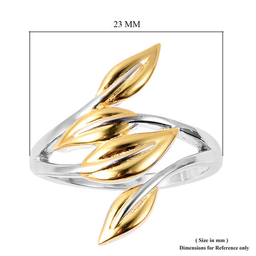 RACHEL GALLEY Rhodium and Yellow Gold Plated Sterling Silver Leaf Ring