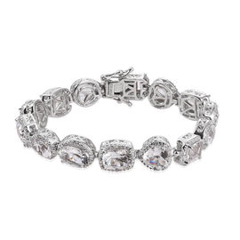 White Topaz and Natural Cambodian Zircon Bracelet (Size 7.25) in Platinum Overlay Sterling Silver 20.634 Ct. Silver wt 23.50 Gms.