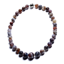 DOD- Botswana Agate Beads Necklace (Size 20) with Magnetic Lock in Rhodium Overlay Sterling Silver 5