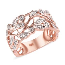 Diamond Leaf Ring in Rose Gold Plated Sterling Silver