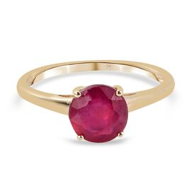 9K Yellow Gold AA African Ruby (FF) Solitaire Ring 2.00 Ct.