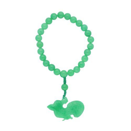 Green Jade Bracelet (Size 6.5) with Bird Charm 170.00 Ct.