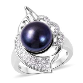 Freshwater Blue Peacock Pearl (Rnd), Simulated Diamond Ring in Rhodium Plated