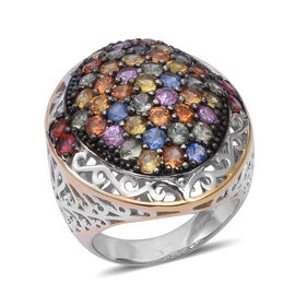 6.50 Ct Rainbow Sapphire Cluster Ring in Two Tone Sterling Silver 11.70 Grams