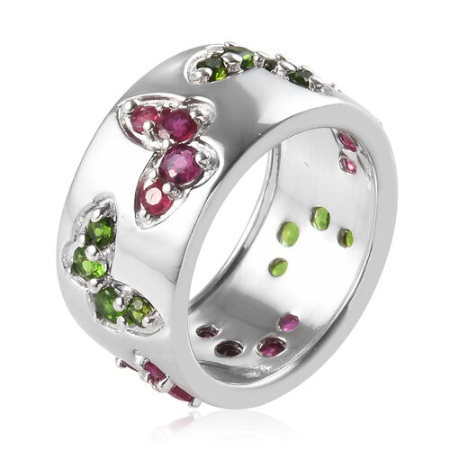 GP - African Ruby (Rnd), Russian Diopside and Blue Sapphire Butterfly Band Ring in Platinum Overlay Sterling Silver 2.50 Ct., Silver wt 6.70 Gms