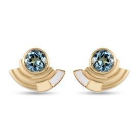GP Art Deco Collection - Skyblue Topaz and Kanchanaburi Blue Sapphire Stud Earrings in 14K Gold Over