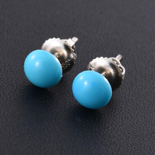 RHAPSODY 950 Platinum AAAA Arizona Sleeping Beauty Turquoise (Rnd) Stud Earrings (with Screw Back) 1.500 Ct.