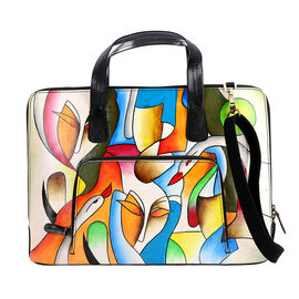 SUKRITI 100% Genuine Leather Abstarct Art Pattern Laptop / Document / Work Bag (Size 39x5x27.50 Cm)