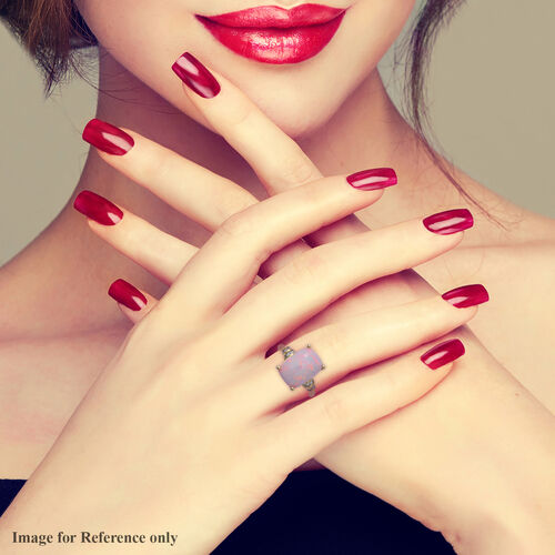 9K Yellow Gold Premium Size Wegel Tena Ethiopian Welo Opal (Cus 14x10mm) and Diamond Ring 4.58 Ct.