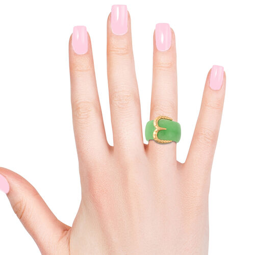 Green Jade Buckle Ring in Yellow Gold Overlay Sterling Silver 31.25  Ct.