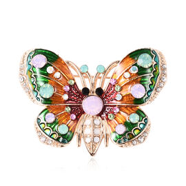 Multi Colour Austrian Crystal Enamelled Butterfly Brooch in Gold Tone