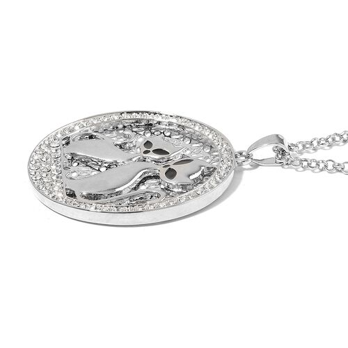 AAA White Austrian Crystal Black Colour Enameled Twin Cat Pendant With Chain in Silver Tone