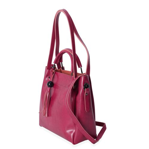 Close Out Deal High Glossed 100% Genuine Leather Fuchsia Colour Tote Bag with Tassels (Size 29x27x11 Cm)
