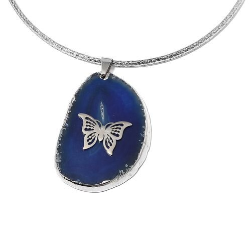 2 Piece Set - Blue Agate Choker Necklace (Size 16) and Pendant 170.000 Ct in Stainless Steel
