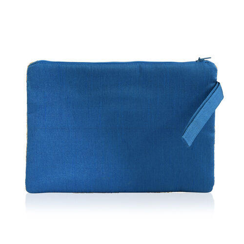 New Season Hand Stitched Golden Sequins Blue Colour Satin Bag (Size 22x15 Cm)