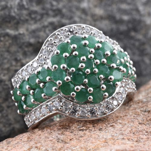 Kagem Zambian Emerald (Rnd), Natural Cambodian Zircon Ring in Platinum Overlay Sterling Silver 3.750 Ct. Silver wt. 9.54 Gms.