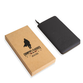 MCS Country Classics: 100% Genuine Leather Full Zip Branded Ladies Purse - Dark Grey