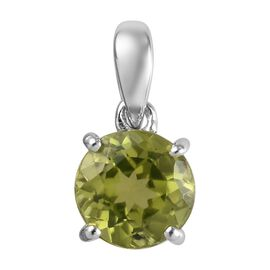 9K White Gold Hebei Peridot (Rnd) Solitaire Pendant 0.90 Ct.