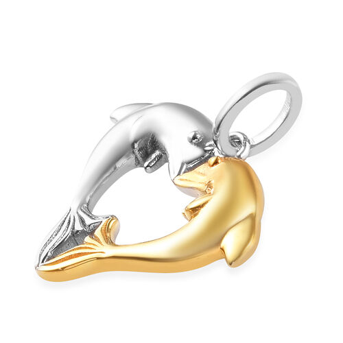 Platinum and Yellow Gold Overlay Sterling Silver Dolphin Heart Pendant