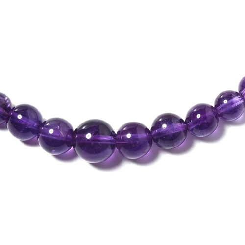 Amethyst (Rnd) Beads Necklace (Size 20) in Rhodium Overlay Sterling Silver 179.000 Ct