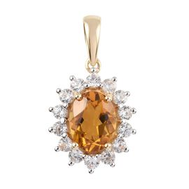 9K Yellow Gold AA Citrine (1.65 Ct), Natural Cambodian Zircon Pendant 2.65 Ct.