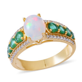 9K Yellow Gold AA Ethiopian Welo Opal (Ovl 1.35 Ct), Premium Santa Terezinha Emerald and Natural White Cambodian Zircon Ring 3.000 Ct.