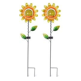 Set of 2  - Solar Powered Stake Light -  Sun Flower