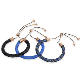 Set of 3 -  AAA Black, Dark Blue and Light Blue Austrian Crystal Adjustable Bracelet (Size 6.5 to 10) in Yellow and Black Tone.