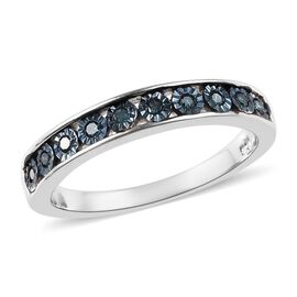 Blue Diamond (Rnd) Half Eternity Band Ring in Platinum Overlay Sterling Silver