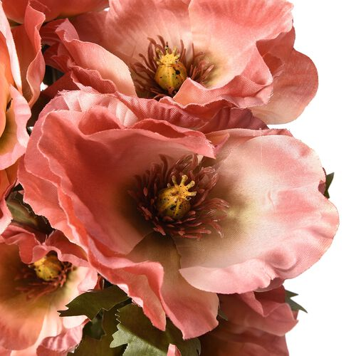 High Quality Realistic Faux Poppy Flowers - Pink- 4 Stems