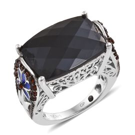 GP 16.50 Ct Boi Ploi Black Spinel and Multi Gemstone Classic Ring in Platinum Plated Silver