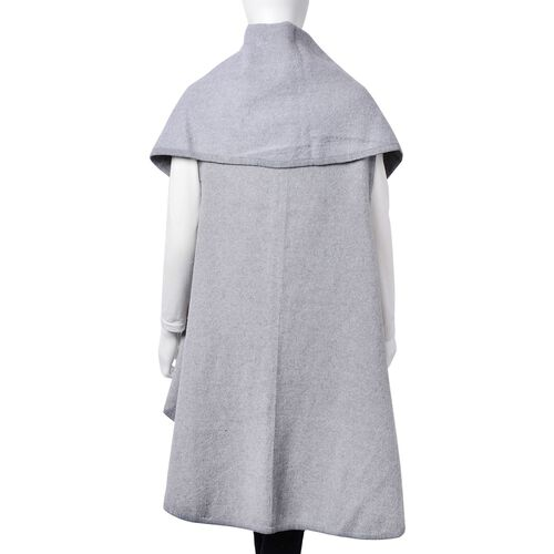 Designer Inspired - Super Soft Grey Colour Waterfall Gilet (Size 150X140 Cm)