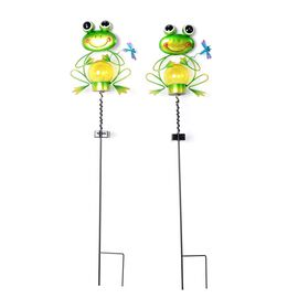 Set of 2 - Solar Powered Frog Shape Stake Light (Length 65 Cm) - Green and Black