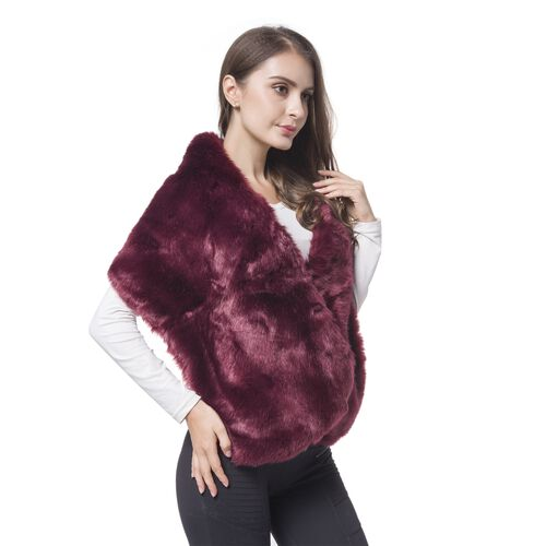 Designer Inspired - Wine Red Faux Fur Wrap (Size 135X30 Cm)