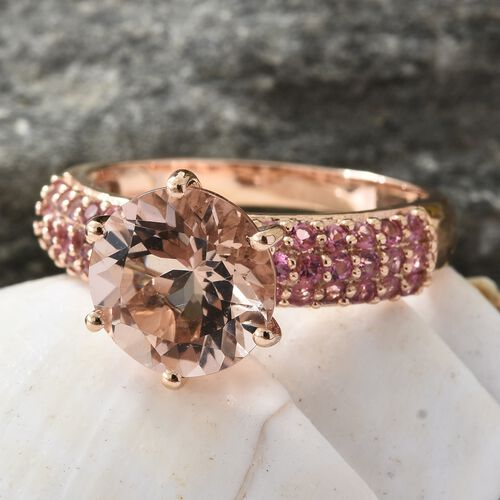 9K Rose Gold AAA Marropino Morganite (Rnd 3.25 Ct), Pink Tourmaline Ring 3.750 Ct.