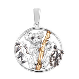 Black, Platinum and Yellow Gold Overlay Sterling Silver Koala Bear Pendant, Silver wt 4.00 Gms