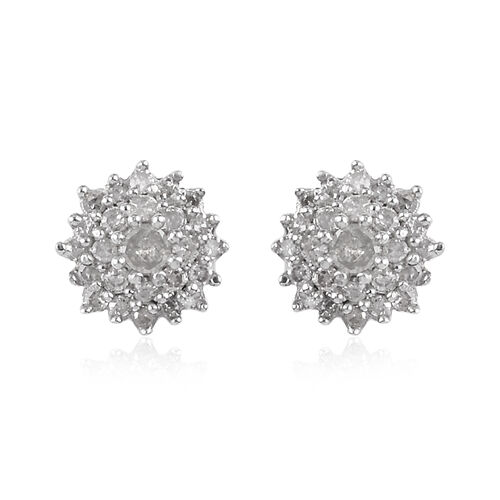 Diamond Cluster Earrings (with Push Back) in Platinum Overlay Sterling Silver 0.25 Ct.