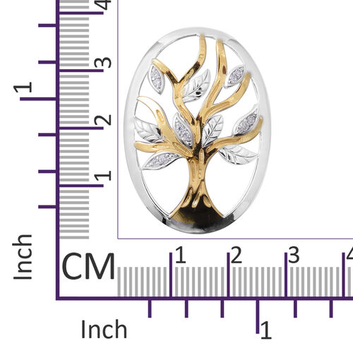 ELANZA  Simulated Diamond (Rnd) Tree of Life Pendant in Yellow Gold and Rhodium Overlay Sterling Silver