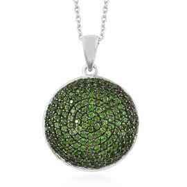 Russian Diopside (Rnd) Cluster Pendant With Chain in Platinum and Black Overlay Sterling Silver 2.500 Ct, Silver wt 6.44 Gms, No. Of Gemstone 166.