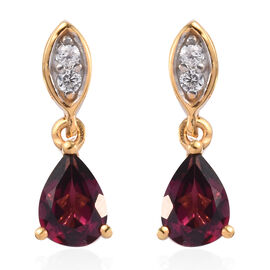 Rhodolite Garnet and Natural Cambodian Zircon Dangling Earrings (with Push Back) in 14K Gold Overlay