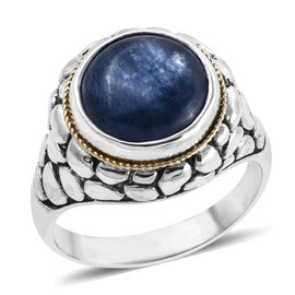 Royal Bali 8.13 Ct Tibetan Kyanite Solitaire Ring in 18K Gold and Sterling Silver 7.60 Grams