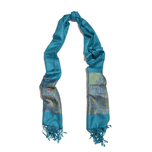 SILK MARK - 100% Superfine Silk Turquoise, Pink and Multi Colour Paisley Pattern Jacquard Jamawar Scarf with Tassels (Size 180x70 Cm) (Weight 125 - 140 Gms)