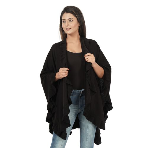 Knit Kimono with Frilled Hemline (L: 150cm, W: 140cm) - Black
