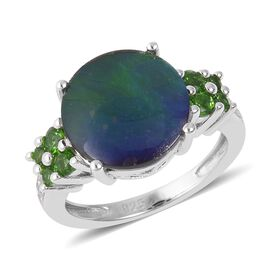AA Canadian Ammolite and Russian Diopside Ring in Rhodium Overlay Sterling Silver
